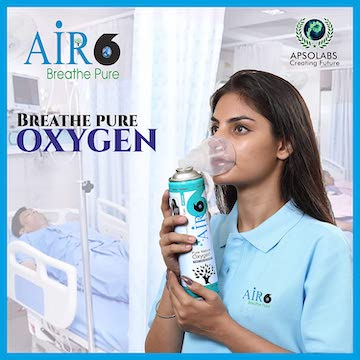 Air6 Portable Oxygen Can/Cylinder with Mask, 10 L
