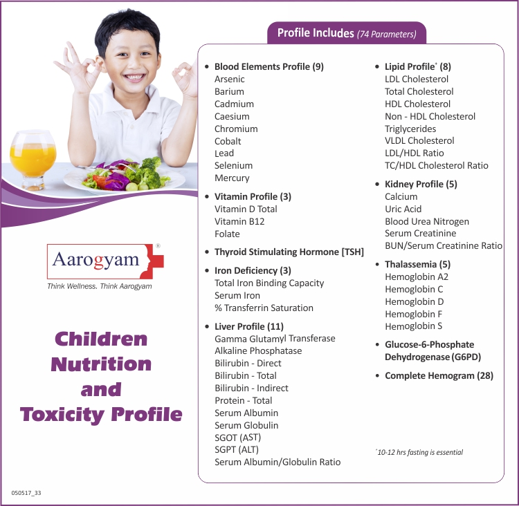 Thyrocare CHILDREN NUTRITION AND TOXICITY PROFILE @ Rs. 2395